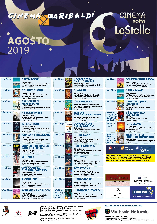 Arena Estiva Agosto 2019 – Cinema Garibaldi
